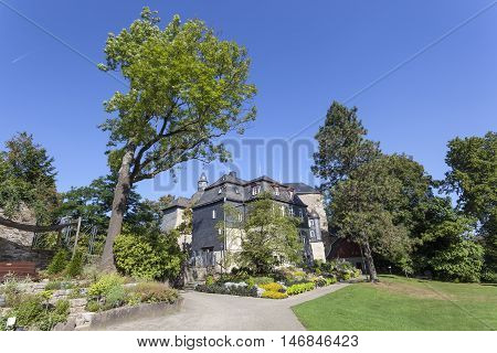 Public garden at the historic castle in the city of Siegen North Rhine Westphalia Germany