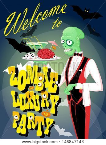 Halloween background: funny zombie waiter with cocktail and brain. Cartoon style. Design poster banner flyer or holiday card. Vector illustration