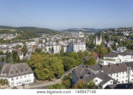 Panoramic view over the city of Siegen. North Rhine Westphalia Germany
