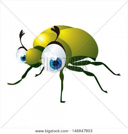 bright color cool cartoon illustration of insect. For logos or mascots. June Bug