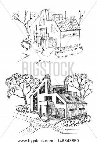 Vacation home before and after reconstruction. Cottage renovated and improvement.