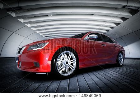 Modern red metallic sedan car in urban setting - tunnel. Generic desing, brandless. 3D rendering.