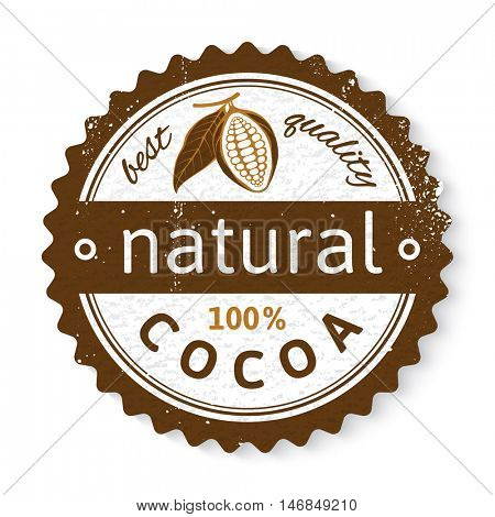 natural cocoa round stamp with type design