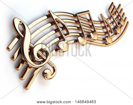 Golden music notes and treble clef on musical strings isolated on white. 3d illustration