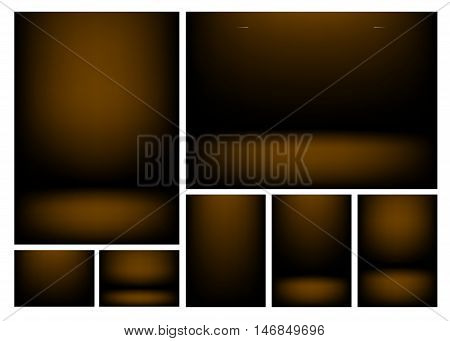 Dark brown gradients for creative project backgrounds or product presentation. Vector backdrop set