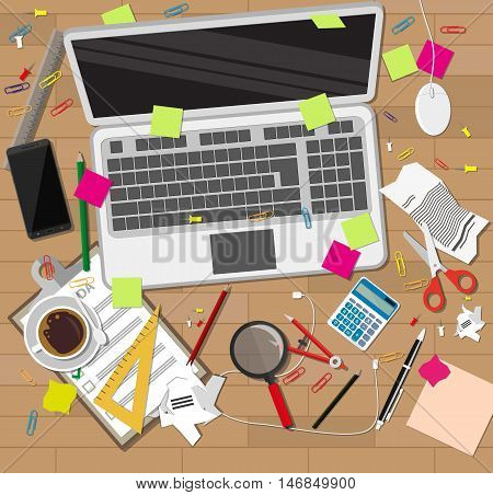 Creative mess on wooden desk. chaos on table. vector illustration in flat style