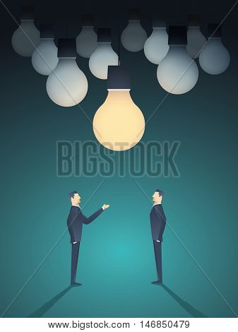 Two businessmen standing under lightbulb as a symbol of business creativity. Creative sign vector concept background. Eps10 vector illustration.
