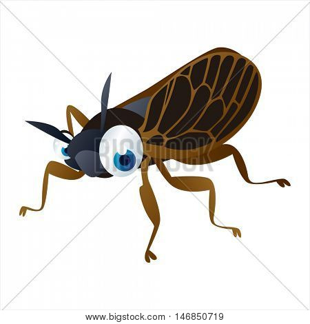bright color cool cartoon illustration of insect. For logos or mascots. Cicada