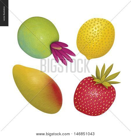 Fruit vector stickers. A set of four cartoon hand drawn fruits, mango, lemon, strawberry and a fantasy fruit.