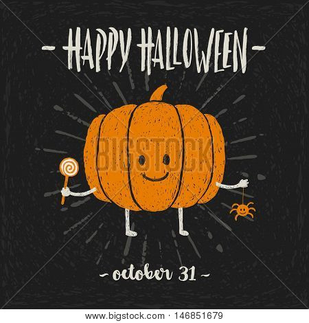 Cutie pumpkin with candy and a pet spider in his hands - Halloween hand drawn vector illustration.