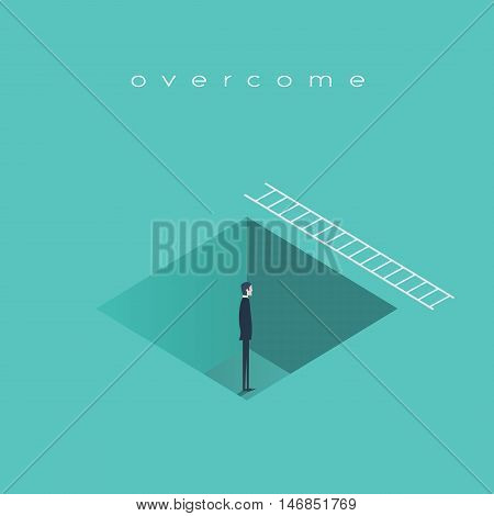 Business challenge concept, man standing in a hole with ladder. Finding solution, recover from crisis symbol. Eps10 vector illustration.