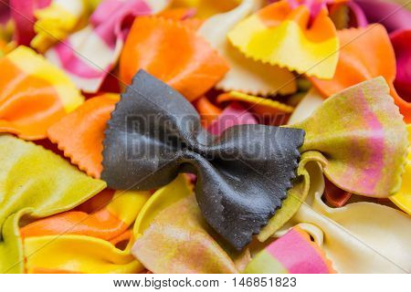 Traditional Handmade Italian Farfalle Pastas Close Up Colored Background