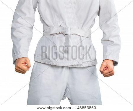Closeup of a Martial Artist in Uniform