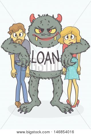 Cartoon of scared, young couple embraced by loan monster. Vector illustration of loan concept.