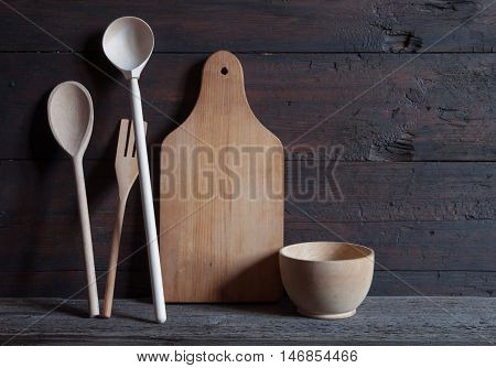 Vintage rustic kitchen still life on the old wooden background
