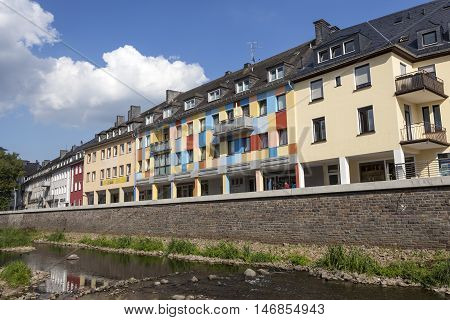 SIEGEN GERMANY - SEP 1 2016: Waterfront buildings at the river Sieg in the city of Siegen. North Rhine Westphalia Germany
