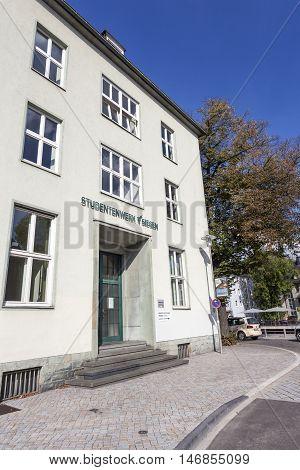 SIEGEN GERMANY - SEP 1 2016: Student Union building in the city of Siegen. North Rhine Westphalia Germany