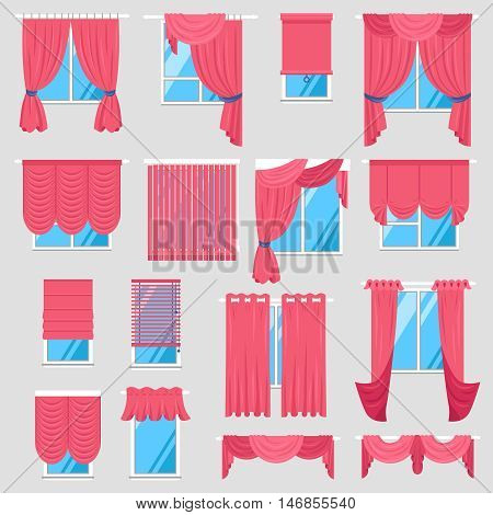 Red curtains set of vintage textile models with lambrequin and modern jalousie and roman blind isolated vector illustration