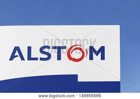 Fredericia, Denmark - September 10, 2016: Alstom logo on a panel. Alstom is a French multinational company operating worldwide in rail transport markets with products like tgv and eurostars