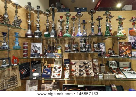 SIEGEN GERMANY - SEP 1 2016: Smoking pipes and tobacco shop n the city of Siegen. North Rhine Westphalia Germany