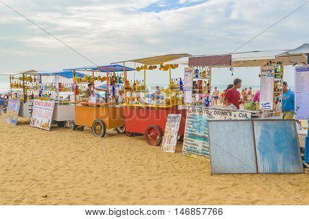JERICOACOARA, BRAZIL, DECEMBER - 2015 - Drinks stands at beach in Jericoacoara Brazil