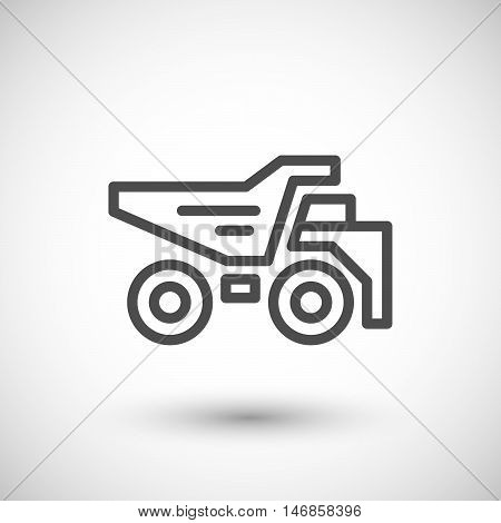 Dumper line icon isolated on grey. Vector illustration