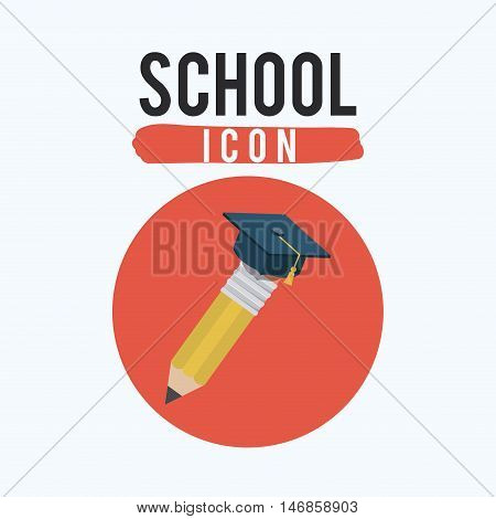 Pencil tool and graduation cap icon. Draw write school and instrument theme. Colorful design. Vector illustration