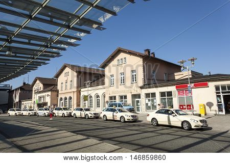 SIEGEN GERMANY - SEP 8 2016: Taxis waiting for customers at the main train station in Siegen. North Rhine Westphalia Germany