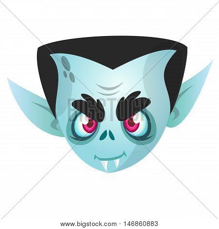 Vampire Face Colored Vector Icon. Halloween vampire head