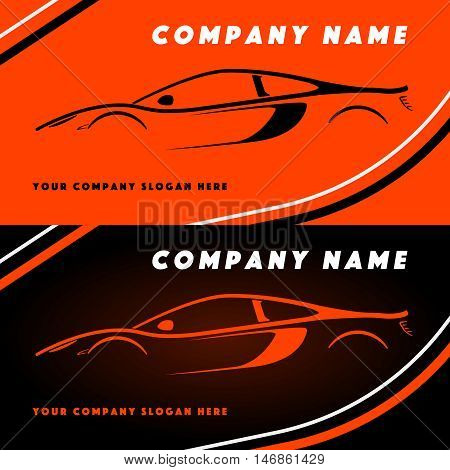 Automotive vector logo design with sports car coupe vehicle silhouette on orange and black background. Vector illustration for your design.
