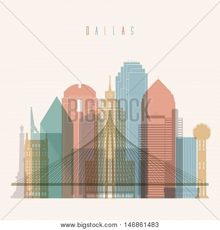 Transparent styled Dallas state Texas skyline detailed silhouette. Trendy vector illustration.