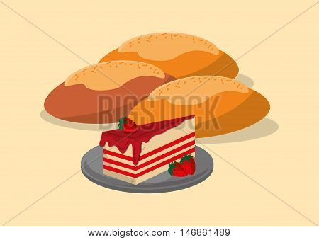 flat design assorted pastry image vector illustration