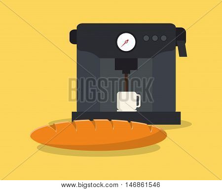 flat design coffee machine and pastry image vector illustration