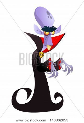 Cute cartoon vampire smiling. Vector illustration of dracula