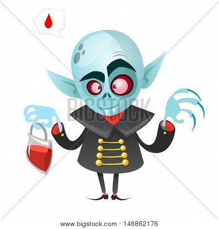 Cartoon vampire. Halloween vector illustration vampire holding pack of blood isolated on white background