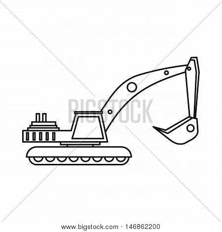Excavator icon in outline style on a white background vector illustration