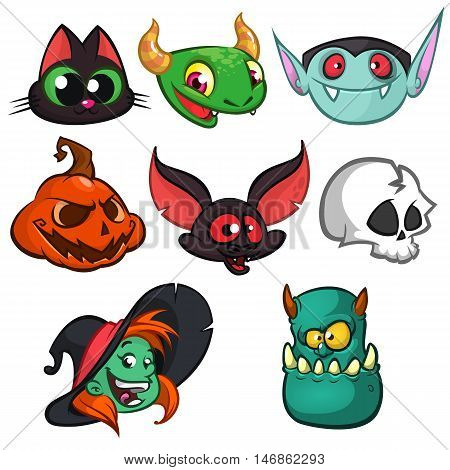 Halloween characters faces set. Bat witch cat grim reaper green monster witch vampire and pumpkin