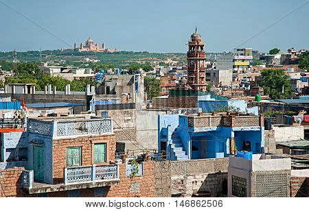 View of Clock tower and Umaid Bhawan palace in Jodhpur (Blue city) Rajasthan India.