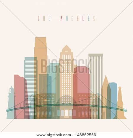 Transparent styled Los Angeles state California skyline detailed silhouette. Trendy vector illustration.
