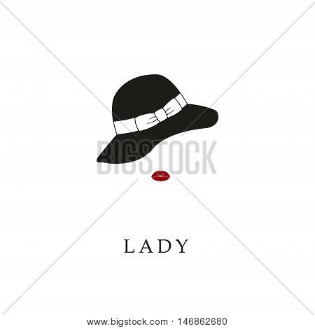 Beautiful lady in hat portrait isolated on white background. Contour drawing. Fashion beauty model. Young awesome woman silhouette. Advertisement design elements.