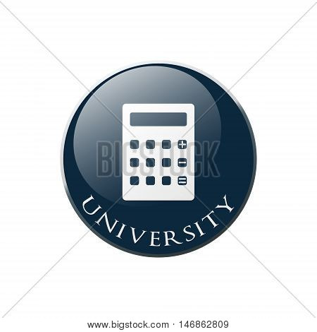 Calculator icon. Higher education symbol. Graphic design element. Symbol in circle button.