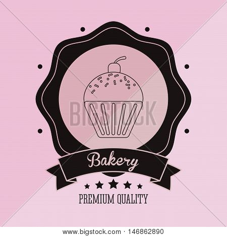 flat design muffin  bakery related emblem image vector illustration