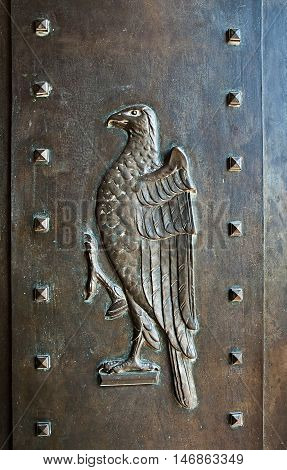 Detail of door in Umaid Bhawan palace hotel in Jodhpur in Rajasthan India