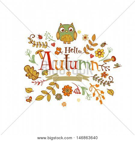 Hello Autumn banner in doodle style, hand-drawn animals and insects, flowers and plants