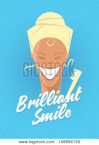 Poster with woman smiling. White healthy teeth, toothbrush or toothpaste advertisement. Retro style. Denist service, stomatology.