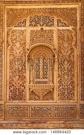 Carved window in Mandir Palace Jaisalmer Rajasthan India