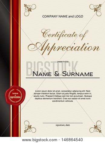 Certificate of Appreciation with red wax seal and ribbon portrait version