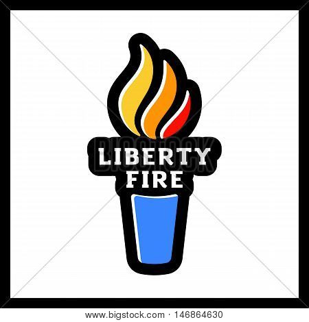 Vector Torch Icon. Hot Flame, Power Flaming, Glow Triumph Illustration. Liberty Fire