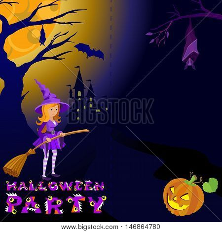 Halloween illustration of mysterious night landscape with castle and full moon. Template for your design.