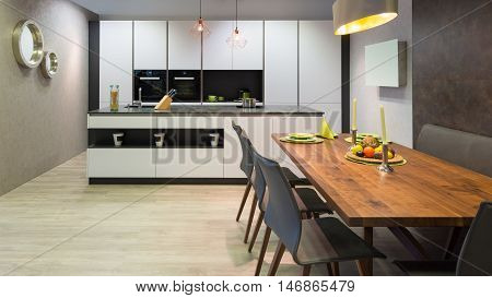 flat white kitchen with island unit and wooden dinner table